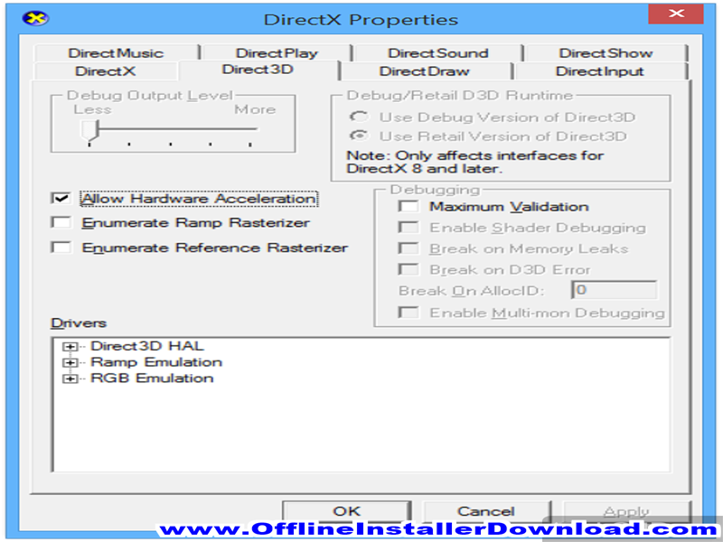 Microsoft DirectX Control Panel Full version Download