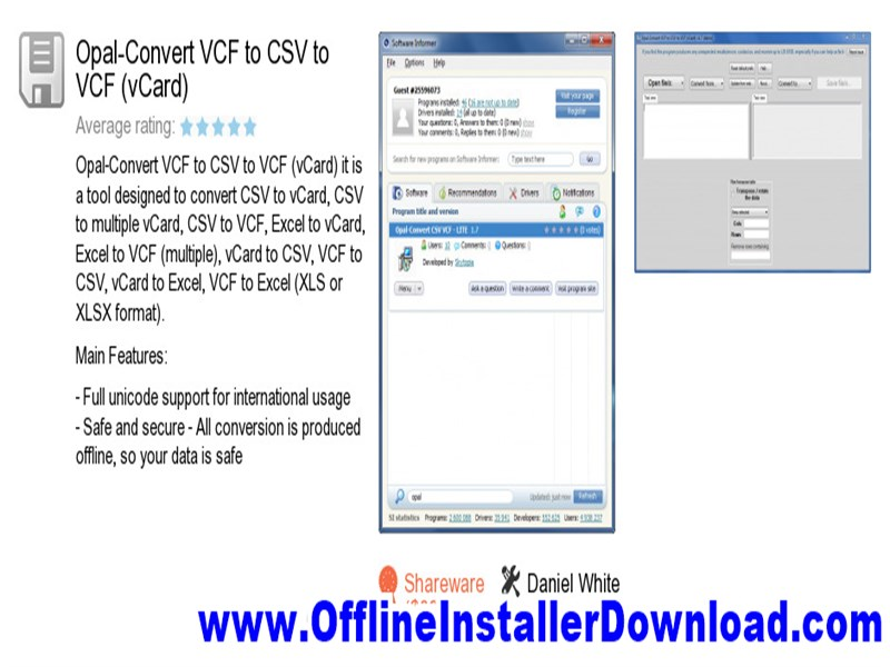 Opal-Convert VCF to CSV to VCF (vCard) Free download for